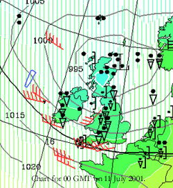 Significant weather chart for 00 GMT on 11 July 2001. Courtesy of the University of Cologne.
