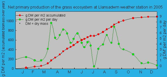 Net primary production of the grass ecosystem at Llansadwrn weather station. ' © 2005 D.Perkins.