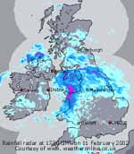 Rainfall radar at 1730 GMT on 11 Feb 2005. Courtesy of WeatherOnline.