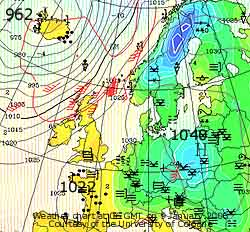 Weather chart at 06 GMT on 9 Jan 2006. Courtesy of Cologne University.