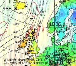 Weather chart at 06 GMT on 12 March 2006, courtesy Cologne University.