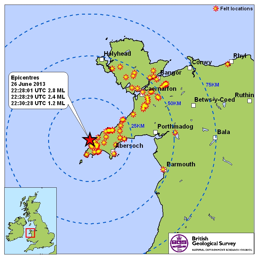 Where the earthquakes in the Lleyn Peninsula were felt, courtesy of British Geological Survey.