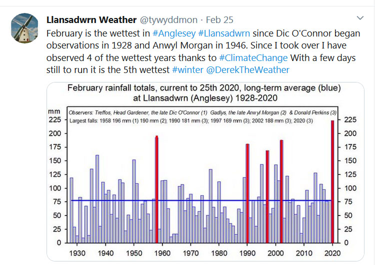 Tweet about wettest February on record.