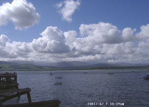 View across the Menai Strait towards the Nant Ffrancon Pass at 0929 GMT on 7 June 2001. Photo: © D Perkins.