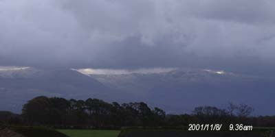 The first lying snow on the mountains seen at 9.36am on 8 November 2001.