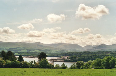 View from Llandegfan across the Menai Strait towards Bangor and Snowdonia taken at 1030 GMT. Photo: © D. Perkins