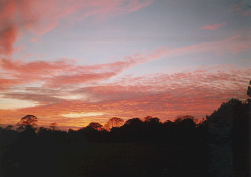 Spectacular red sky seen at Llansadwrn on 26 October 1999 at 1705 GMT.