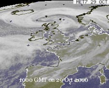 Meteosat image showing swirl of cloud associated with low to N Scotland on 29th at 0600 GMT: Courtesy of Ulm University.