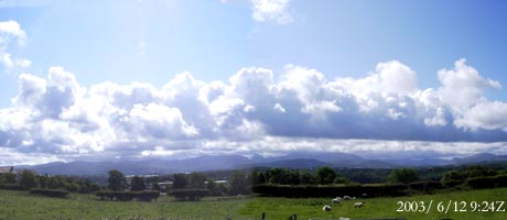 Linear cumulus clouds over Snowdonia at 0924 GMT on 12 June 2003.