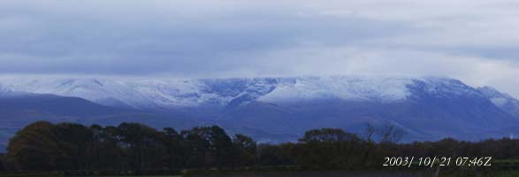Fresh snow had fallen on the Carneddau Mountains on the morning of 21 October 2003.
