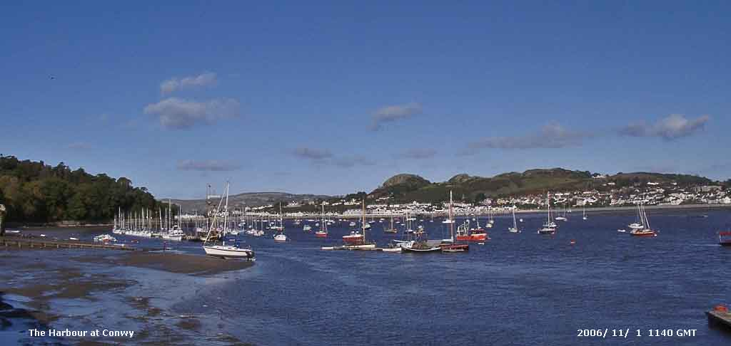 Conwy harbour and estuary with Deganwy on the opposite shore.