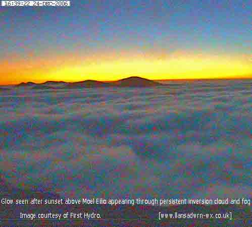 After sunset glow over Moel Eilio with inversion cloud/ fog. Courtesy of First Hydro webcam.