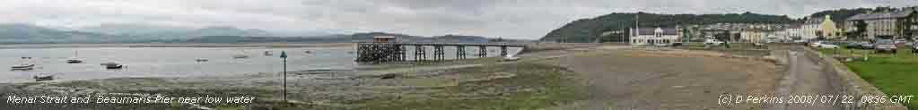 Beaumaris Pier and Menai Strait near low water on 22 July 2008.
