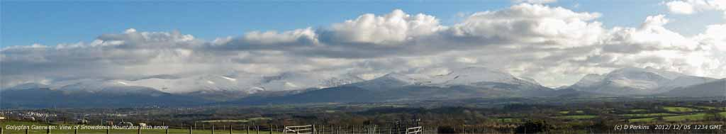 Snowdonia Mountains with snow from Golygfan Gaerwen.