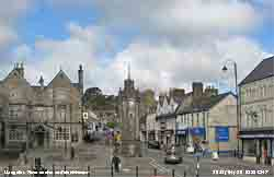 Llangefni town centre with clock tower.