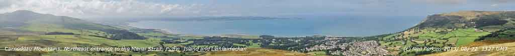 NE entrance of the Menai Strait, Puffin island and Llanfairfechan seen from the Carneddau Mountains.