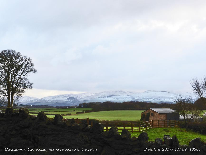 Snow on the Carneddau Mountains at 1030 GMT.