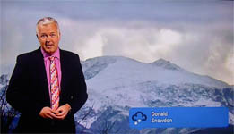 Derek Brockway and Donald's photo of Snowdon BBC Wales Weather 1850 GMT.