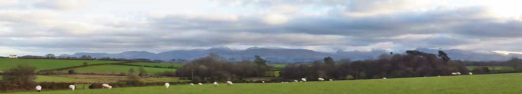 View of Snowdonia Mountains from Llansadwrn.