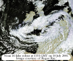 Noaa 16 image at 1335 GMT on 18 July 2001 courtesy of Roger Ray.