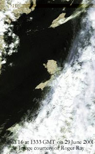 Frontal cloud just clearing Anglesey at 1333 GMT on 29 June 2001. Noaa 16 false colour image courtesy of Roger Ray.