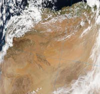Dust raised in Morocco on 29 March 2004: NOAA AQUA image courtesy of RRT at NASA.