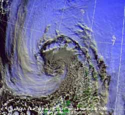 Deep depression off NW Scotland. NOAA 18 image at 1356 GMT on 11 Nov 2005. Courtesy of Bernard Burton.