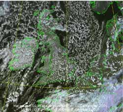 Meteosat MSG image (c) EUMESAT at 15 GMT on 16 September 2005, courtesy Bernard Burton.