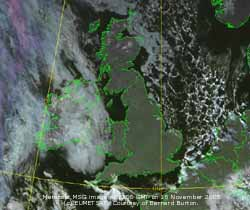 Meteosat MSG image (c) EUMETSAT at 12 GMT on 18 Nov 2005 courtesy Bernard Burton.