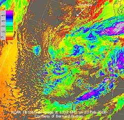 NOAA 18 thermal image at 1332 GMT on 20 Feb 2006, courtesy of Bernard Burton.