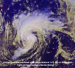 Hurricane NW of Azores: NOAA 18 image at 1511 GMT on 24 Sep 2006, courtesy of Bernard Burton.