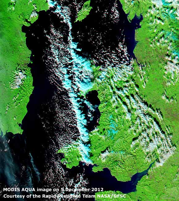 MODIS AQUA image (7-2-1) on 5 December  2012 courtesy of the Rapid Response Team at NASA/GFSC.