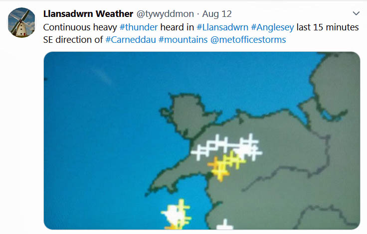 Tweet about the heavy thunder over the Carneddau Mountains...