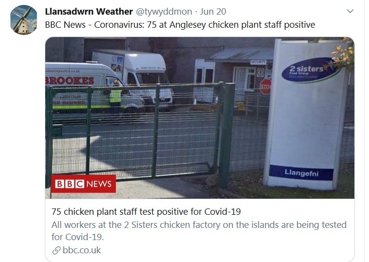 Tweet about outbreak of COVID-19 in Llangefni ...