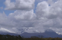 View of snowcovered Carneddau Mountains at 1309 GMT on 29 April 2001.